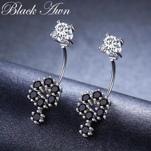 Load image into Gallery viewer, Birthday Present 925 Sterling Silver Jewelry Engagement Flower shape Stud Earrings for Women Black Spinel Female Earring II034