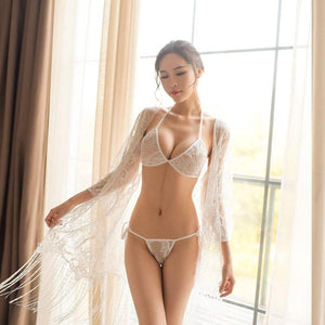 Transparent lace pyjamas for sexy lingerie + sexy lace bra with neck hanging around the neck for see-through underwear