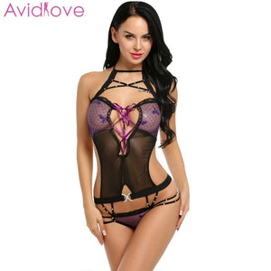 Avidlove Sexy Lingerie Bodysuit Women Sexy One Piece Lingerie Halter Bandage Lace Patchwork Backless Teddies Erotic Nightwear
