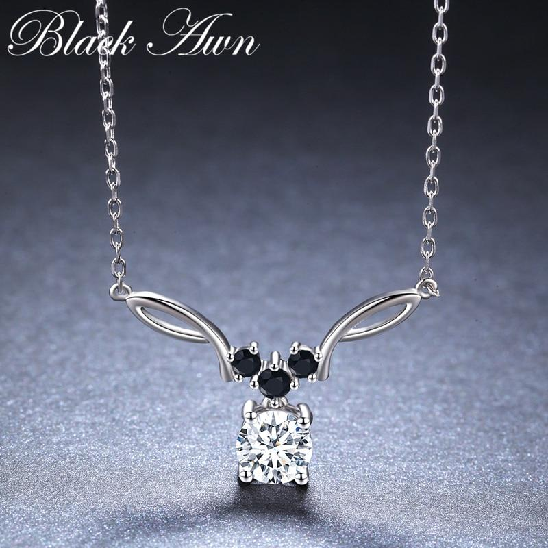 BLACK AWN New Arrival Classic Real 925 Sterling Silver Pendant Necklaces Women Wedding Jewelry for Women K025 - shopsatang.com