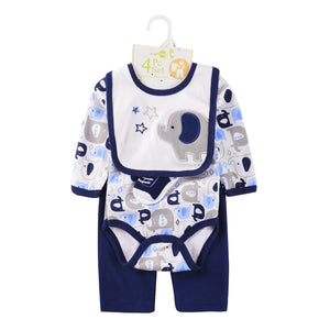 2019 baby Boy's Clothing Set summer cotton Cartoon baby clothes Newborn Kids 4 Piece suits infant bodysuits+pants+socks+Bib/Cap