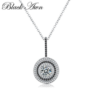 Classic Fine Genuine 100% 925 Sterling Silver Slide Necklace Women Jewelry Round Bijoux Femme Necklaces&Pendants P074