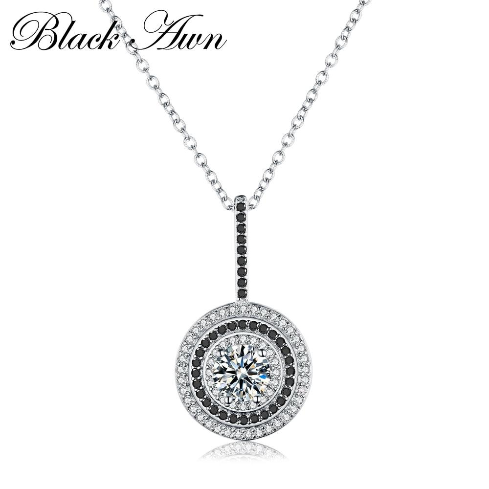 Classic Fine Genuine 100% 925 Sterling Silver Slide Necklace Women Jewelry Round Bijoux Femme Necklaces&Pendants P074 - shopsatang.com