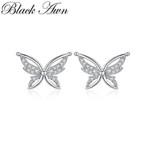 Black Awn Romantic 925 Sterling Silver Jewelry Natural Cute Butterfly Party Stud Earrings for Women Bijoux II111 - shopsatang.com
