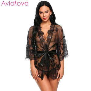 Avidlove Women Costumes Sexy Lingerie Lace Erotic Babydoll Sexy Underwear Belt Robe Transparent Dressing with G-string Lace Mesh