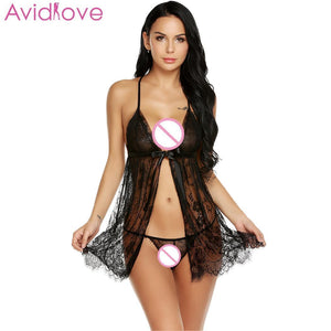 Avidlove Women's  Pajamas Sexy Lingerie Hot Erotic Nightwear Open G-String Front Floral Sleepwear Ribbon Babydoll Nightgown - shopsatang.com