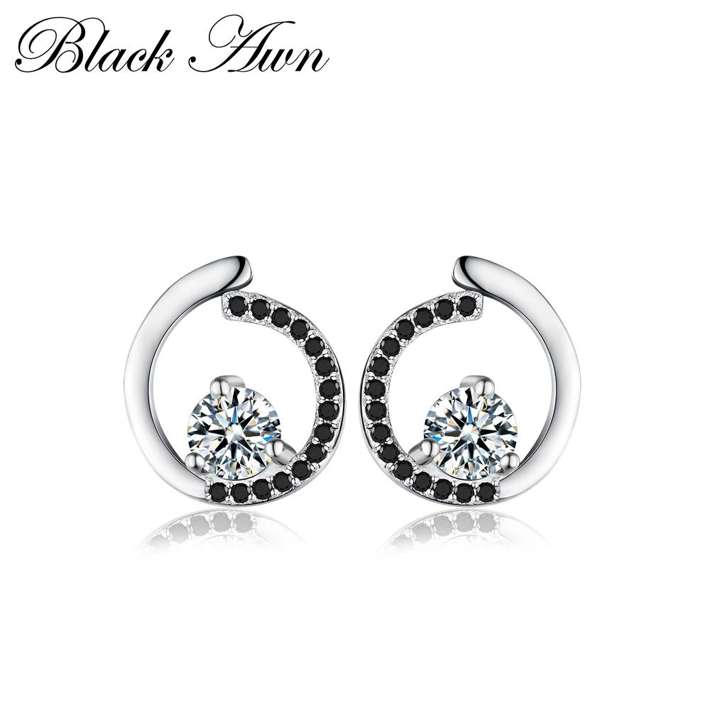 Genuine 925 Sterling Silver Fine Jewelry Trendy Engagement Stud Earrings for Women Bijoux Female Earring T011 - shopsatang.com