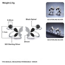 Load image into Gallery viewer, Black Awn Romantic 925 Sterling Silver Butterflyt Engagement Hoop Earrings for Women Black Spinel Stone Jewelry Bijoux II101