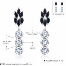 Load image into Gallery viewer, Cute Boucle D'Oreille Femme 2018 Flower 925 Sterling Silver Black Spinel Engagement Earrings for Women Fine Jewelry Bijoux I069