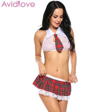 Load image into Gallery viewer, Avidlove Student Cosplay Sexy Lingerie Uniforms Mini Babydoll Sexy Costumes Women Sexy Underwear Role Play Erotic Plus Size