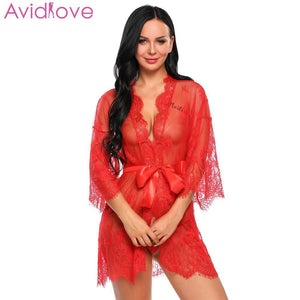 Avidlove Women Costumes Sexy Lingerie Lace Erotic Babydoll Sexy Underwear Belt Robe Transparent Dressing with G-string Lace Mesh - shopsatang.com