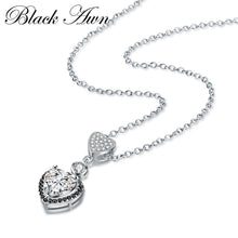 Load image into Gallery viewer, Black Awn Heart Necklaces Pendants 925 Sterling Silver Fine Jewelry Trendy Engagement Necklaces for Women Wedding Pendants PP156