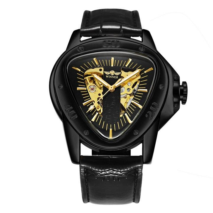 WINNER Official Sports Automatic Mechanical Men Watch Racing Triangle Skeleton Wristwatch Top Brand Luxury Golden + Gift Box - shopsatang.com