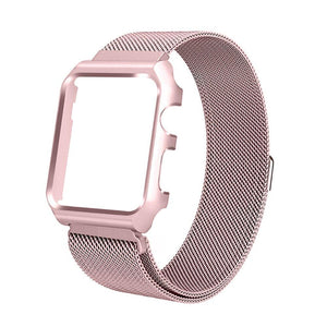 Rolamy Milan Case Strap for Apple iphone Watch strap 38 42 mm Band Stainless Steel Metal Bands Shockproof Magnetic for Iwatch
