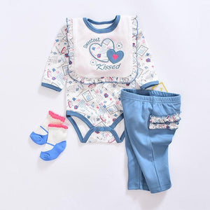 2019 baby Boy's Clothing Set summer cotton Cartoon baby clothes Newborn Kids 4 Piece suits infant bodysuits+pants+socks+Bib/Cap - shopsatang.com