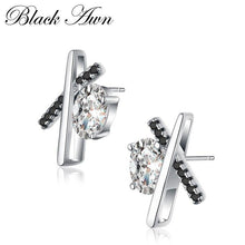 "Load image into Gallery viewer, Trendy Genuine 100% 925 Sterling Silver Jewelry ""X"" Timeline Black&White Stone Wedding Stud Earrings for Women T056"