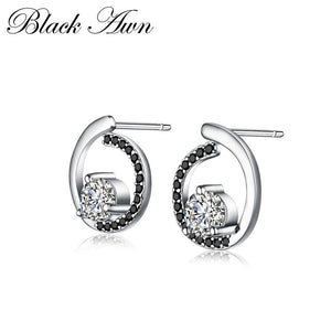 Genuine 925 Sterling Silver Fine Jewelry Trendy Engagement Stud Earrings for Women Bijoux Female Earring T011