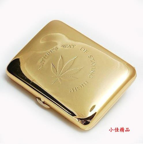 New 1 PCS High quality cigarette Case Golden/Silver ( Holde16 cigarettes) cigarette holder with gift box Men's Gadgets SQ320