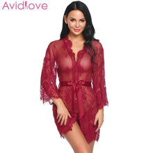 Load image into Gallery viewer, Avidlove Women Costumes Sexy Lingerie Lace Erotic Babydoll Sexy Underwear Belt Robe Transparent Dressing with G-string Lace Mesh - shopsatang.com