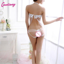 Load image into Gallery viewer, Candiway Sexy Lace Women Sleeveless G-string Transparent Babydoll Underwear Dresses Nightgown Lingerie Sleepwear Chemise Dress