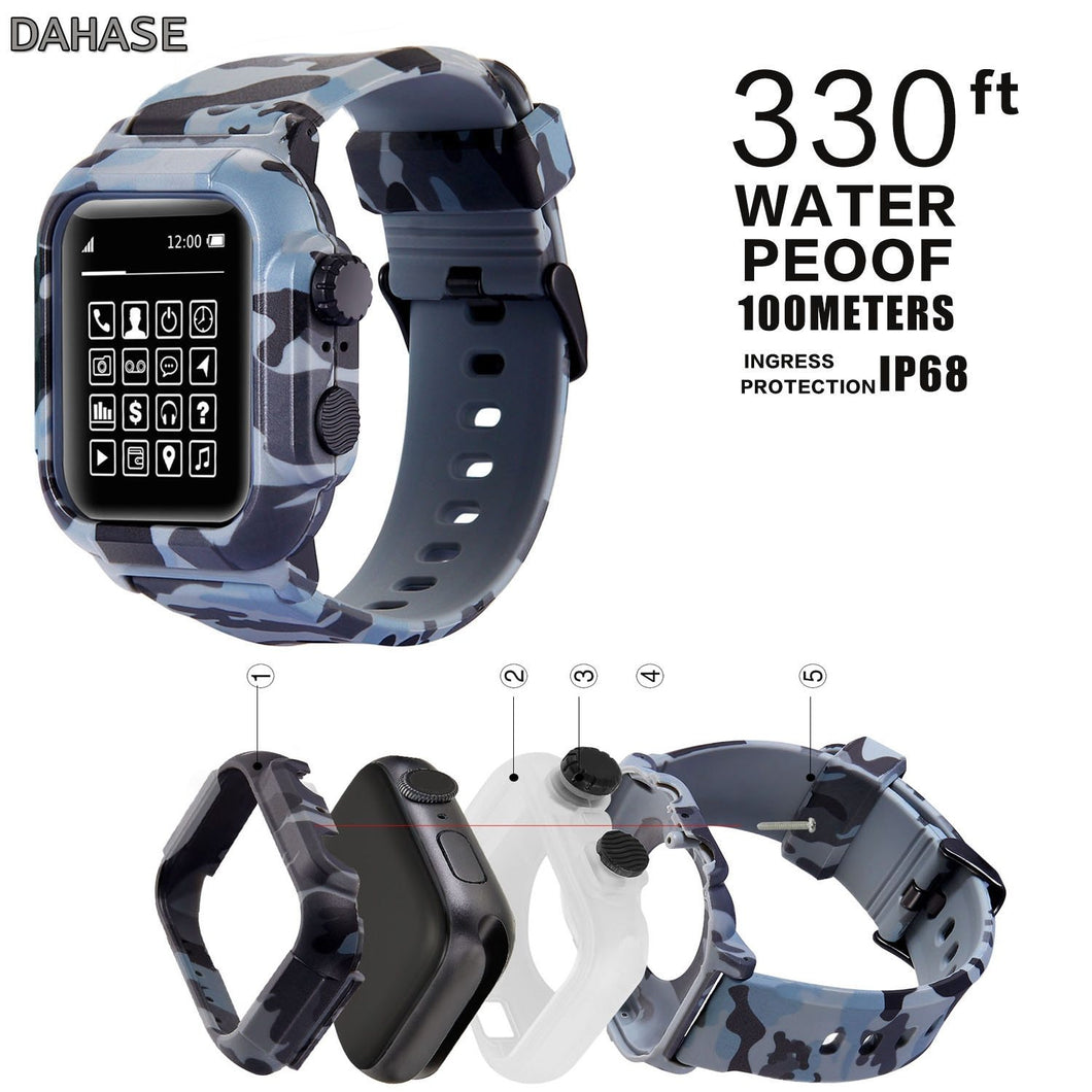 IP68 Waterproof Silicone Case For Apple Watch Band 42mm 44mm Camouflage Strap Replacement Wristband for iWatch series 2/3/4 Case