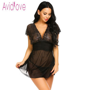 Avidlove 2020 New Lace Lingerie Sexy Hot Erotic Nightwear Women Mesh See Through Chemise Nightdress Langeri Negligee Sex Costume