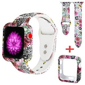 Beorcabo Soft Silicone Watch Strap Printed Flower Repalcement for Apple Watch Band 1 2 3 Series with Protect Case for Iwatch