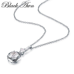 Black Awn Silver Necklace 925 Sterling Silver Fine Jewelry Trendy Engagement Necklaces for Women Wedding Necklaces Pendants P159
