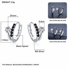 Load image into Gallery viewer, Black Awn Classic 3.5g 925 Sterling Silver Square Black Spinel Trendy Engagement Hoop Earrings for Women Fine Jewelry II109
