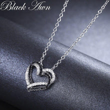 Load image into Gallery viewer, Silver Necklace Fine Genuine 100% 925 Sterling Silver Necklace Women Jewelry Heart Black&White Stone Pendants P107