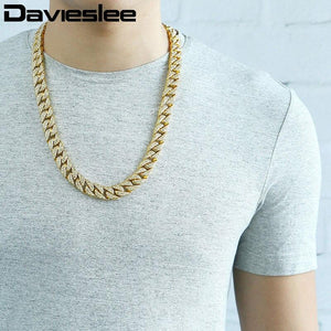 Iced Out Chain Necklace for Men Paved Rhinetones Yellow Gold Filled Miami Curb Cuban Link 14mm Mens Jewelry LGN455