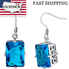 Load image into Gallery viewer, USA STOCK Uloveido Blue Crystal Wedding Drop Earrings for Women Vintage Silver Jewelry Purple Earring Brincos Free Shipping R550
