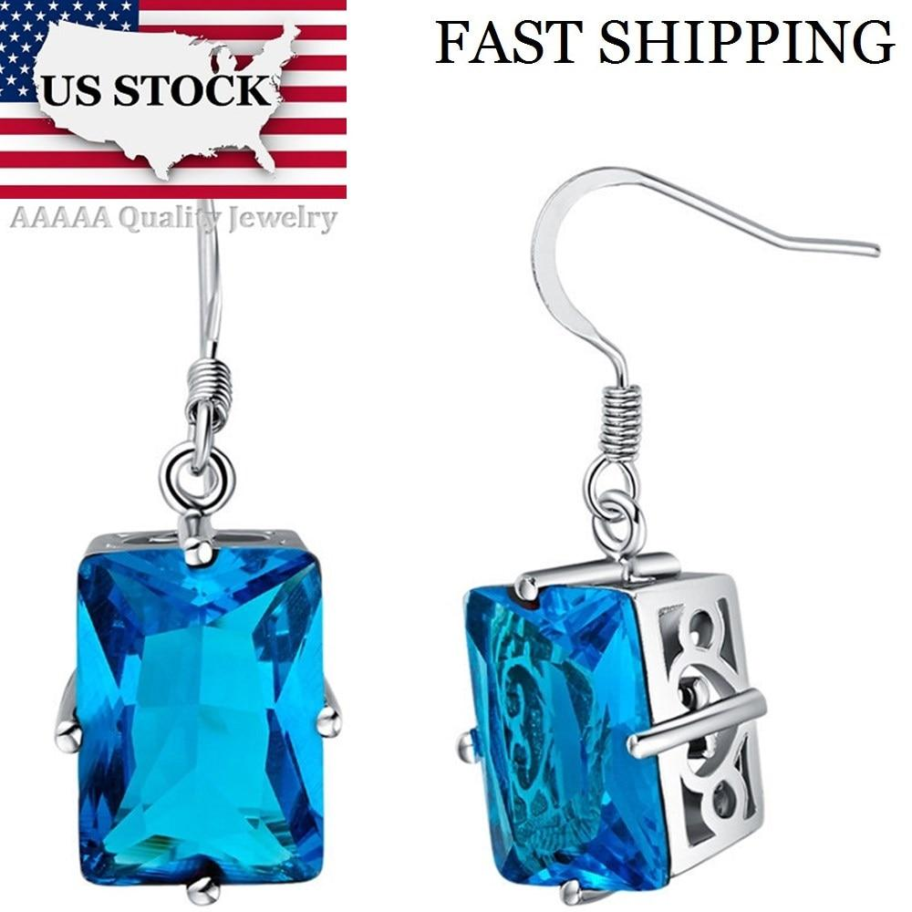 USA STOCK Uloveido Blue Crystal Wedding Drop Earrings for Women Vintage Silver Jewelry Purple Earring Brincos Free Shipping R550