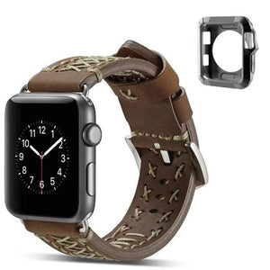 LPWHH Cow Genuine Leather Strap For Apple Watch Band Series 4 3 2 1 38mm 42mm 44mm Gift TPU Watch Case Pink Buckle Iwatch Bands - shopsatang.com
