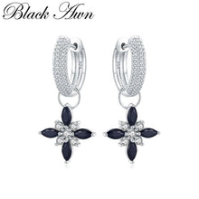 Load image into Gallery viewer, Black Awn Classic 100% Genuine 925 Sterling Silver Jewelry Black Spinel Stone Party Hoop Earrings for Women Bijoux Femme I078