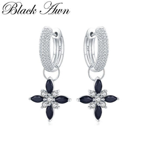 Black Awn Classic 100% Genuine 925 Sterling Silver Jewelry Black Spinel Stone Party Hoop Earrings for Women Bijoux Femme I078 - shopsatang.com