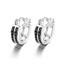 Load image into Gallery viewer, Black Awn Birthday Present 925 Sterling Silver Square Black Spinel Trendy Engagement  Earrings for Women Fine Jewelry II019