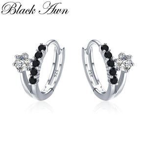 Black Awn Classic 3.5g 925 Sterling Silver Square Black Spinel Trendy Engagement Hoop Earrings for Women Fine Jewelry II109