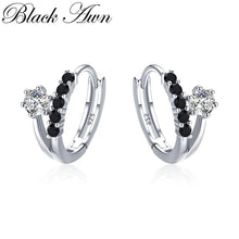 Load image into Gallery viewer, Black Awn Classic 3.5g 925 Sterling Silver Square Black Spinel Trendy Engagement Hoop Earrings for Women Fine Jewelry II109 - shopsatang.com