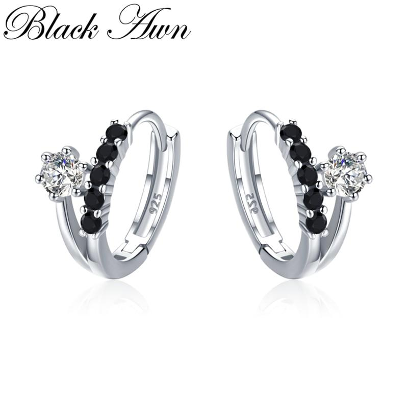 Black Awn Classic 3.5g 925 Sterling Silver Square Black Spinel Trendy Engagement Hoop Earrings for Women Fine Jewelry II109 - shopsatang.com