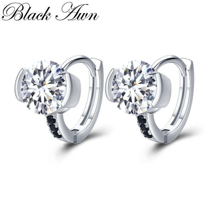 Black Awn Classic 925 Sterling Silver Round Black Trendy Spinel Engagement Hoop Earrings for Women Fine Jewelry Bijoux TT201 - shopsatang.com