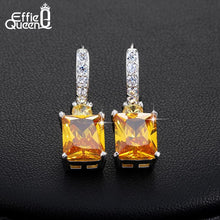 Load image into Gallery viewer, Effie Queen 4ct Big Square AAA Yellow Cubic Zircon Earrings Luxury Women Wedding Engagement Dangle Earrings Jewelry HOE126 - shopsatang.com