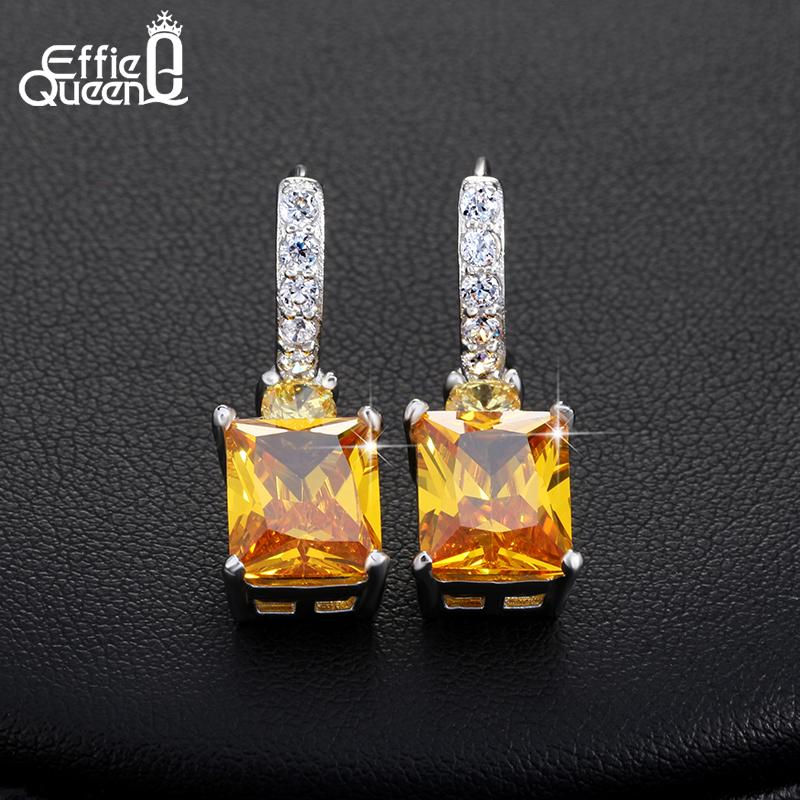 Effie Queen 4ct Big Square AAA Yellow Cubic Zircon Earrings Luxury Women Wedding Engagement Dangle Earrings Jewelry HOE126 - shopsatang.com