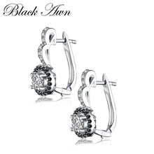 Load image into Gallery viewer, Vintage Genuine 925 Sterling Silver Engagement Hoop Earrings for Women with Black&White Stone Jewelry Bijoux T001