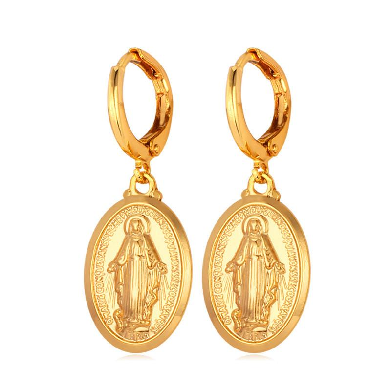U7 Virgin Mary Earrings Fashion Jewelry Trendy Gold/Silver Color Religious Jewelry Wholesale Drop Earrings For Women E516 - shopsatang.com