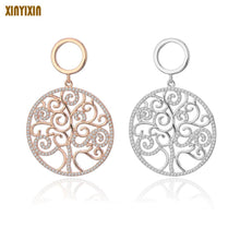 Load image into Gallery viewer, Rose Gold Silver Cubic Zirconia Tree of life Drop earrings Big Round Design Earring Women Luxury Jewelry Christmas Wedding Gift