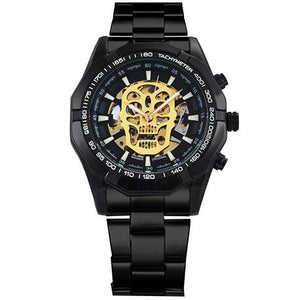 WINNER Steampunk Skull Auto Mechanical Watch Men Black Stainless Steel Strap Skeleton Dial Fashion Cool Design Wrist Watches - shopsatang.com