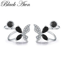 Load image into Gallery viewer, Black Awn Romantic 925 Sterling Silver Butterflyt Engagement Hoop Earrings for Women Black Spinel Stone Jewelry Bijoux II101 - shopsatang.com