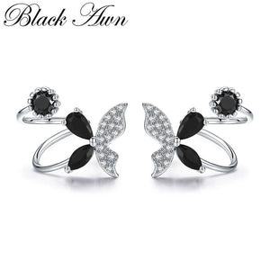 Black Awn Romantic 925 Sterling Silver Butterflyt Engagement Hoop Earrings for Women Black Spinel Stone Jewelry Bijoux II101 - shopsatang.com