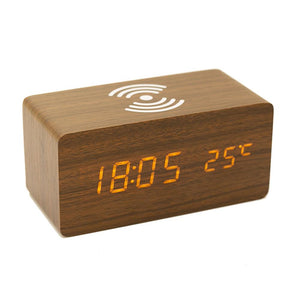 Hight Quality Multi-Function Alarm Clock Wireless Charger Wooden Clock for Apple Samsung Huawei Smart Phone